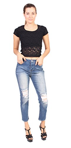 New Celebrity Pink Jeans Women High Rise Distressed Ankle Straight Jeans With 5 Front Button for sale