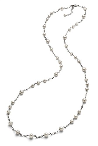 5.5-7mm Sterling Silver White Freshwater Cultured Pearl Tin Cup Necklace AA+ Quality, 35