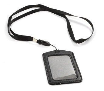 Amazoncom AIRLUT Black Set Of Faux Leather Business ID Badge - Porte badge tour de cou