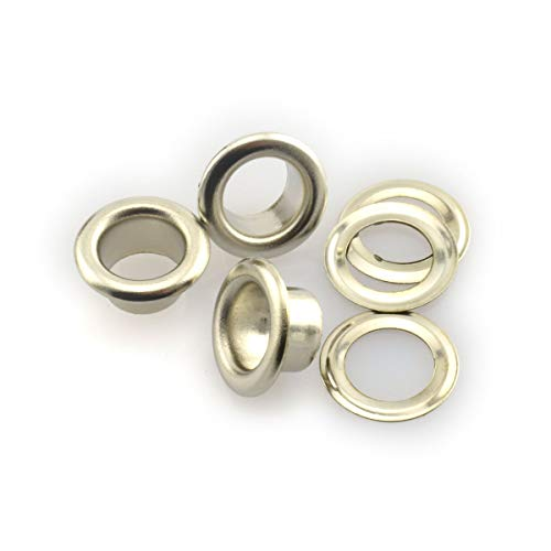 RuiLing 120 Sets 6mm Silver Metal Eyelets Garments Shoes Supplies Sewing Crafts Accessories 1/4 Inch Grommet Eyelets