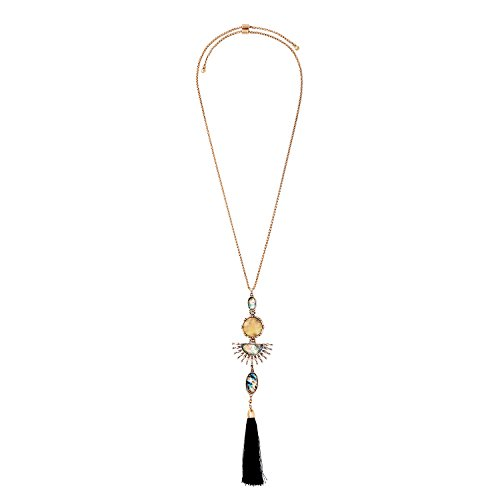 Miss Kiss Vintage Gemstone Long Tassel Pendant Y-Necklace Combination for Women (epoxy resin round and (Vintage Pendant Kiss Glass)