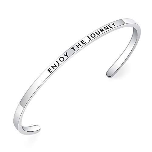 BESTTERN Inspirational Bracelet Cuff Bangle Mantra Quote Keep Going Stainless Steel Engraved Motivational Friend Encouragement Jewelry Gift for Women Teen Girls Sister (Thin-Enjoy The Journey)
