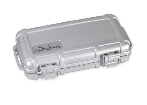 (Cigar Caddy 3400-R Silver 5 Cigar Waterproof Travel Humidor, Silver Rubberized Exterior)
