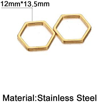 Stiesy 60 Pieces 304 Stainless Steel Open Back Bezel Linking Pendants Hexagon Hollow Frame Connecter Charms Bulks for UV Resin Jewelry Making-Golden