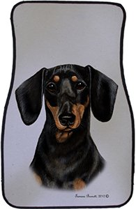 Black Tan Dachshund Car Floor Mats - Carepeted All Weather Universal Fit for Cars & Trucks