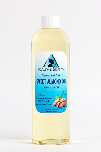 Sweet Almond Oil Organic Carrier Cold Pressed Refined 100% Pure 12 oz (Lotion Hair Oz 12 Bottle)