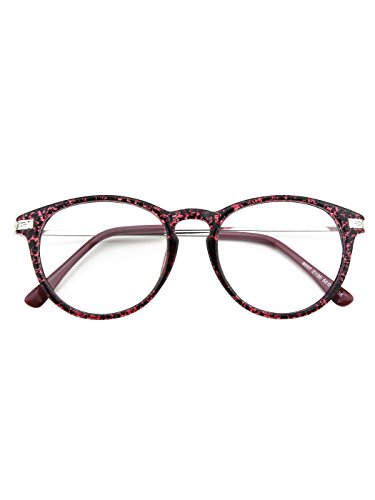 Happy Store CN92 Fashion Keyhole Metal Temple Oval Horn Rimmed Clear Lens Glasses,Purple (05 Glasses)