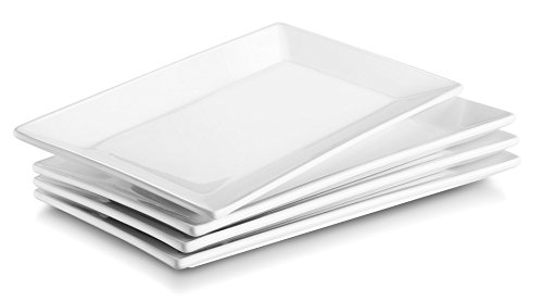 DOWAN 9.7-inch Porcelain Serving Platter/Rectangular Plates - 4 Packs, White