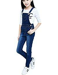 0d34c7a047f Big Girls Kid Jeans Cotton Suspender Denim Bib Overalls Jumpsuit