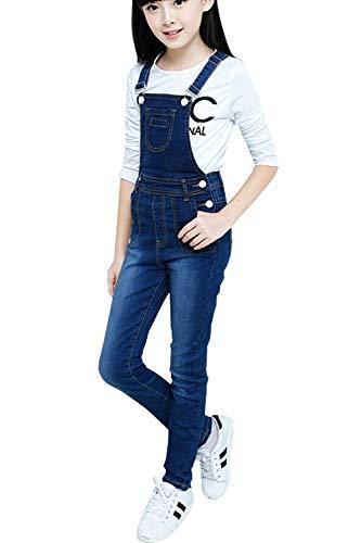 LAVIQK 3-13 Years Big Girls Kid Adjustable Strap Long Jeans Cotton Suspender Denim Bib Overalls (Dark Blue)