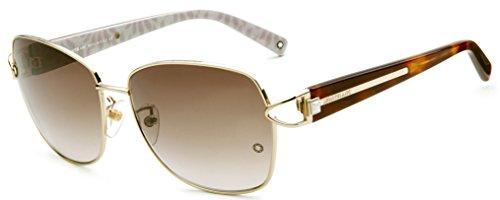 MontBlanc MB414S 28F Women's Classic Full-Rim Sunglasses, Gold Frame / Light Brown Lens 59MM