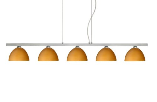 Besa Lighting 5LP-4679OK-SN 5X40W G9 Brella Pendant with Oak Glass, Satin Nickel Finish