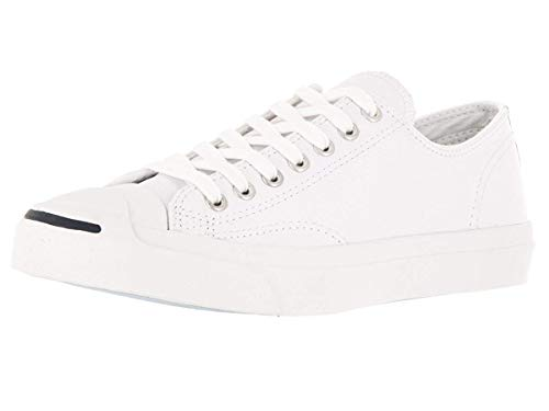 Converse Jack Purcell Leather Fashion-Sneakers, White, 8.5 B(M) US Women / 7 D(M) US Men