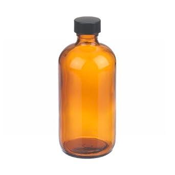 Wheaton W216856 Boston Round Bottle, Amber Glass, Capacity 8oz With 24-400 Black Phenolic Rubber Lined Screw Cap, Diameter 60mm x 136mm (Case Of 12)