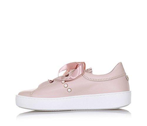 Twin-Set Rosa Schuh Aus Leder, Romantischer Stil, auf der Vorderseite ein Rosa Band, Mädchen, Damen-39
