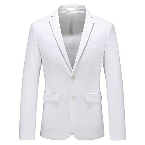 - Mens Casual Two Button Single Breasted Suit Jacket Modern Wedding Tux Blazer US Size 38 (Label Size 3XL) White