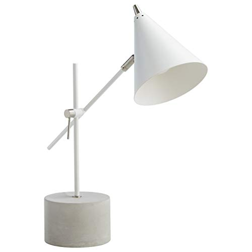 Modern Task Lamp - Rivet Mid-Century Modern Metal Cone And Concrete Task Desk Table Lamp With Light Bulb - 6.5 x 12.5 x 21 Inches, Matte White