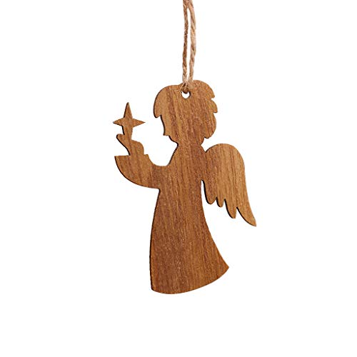 MIS1950s 3PC Wooden Hanging Ornaments for Christmas Holiday, Cute Xmas Tree Wood Decoration Pendant for Home Decor,Santa Tree Snowflakes Angel Heart Elk Bell Sled Deer 8 Style (Angel) (To Santas Wooden Paint)
