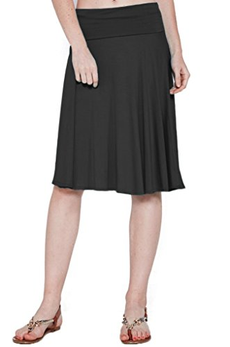 12 Ami Solid Basic Fold-Over Stretch Midi Short Skirt Black Small