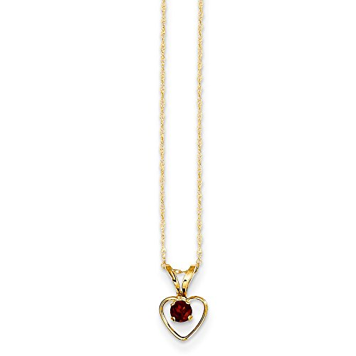(14k Yellow Gold 3mm Red Garnet Heart Birthstone Chain Necklace Pendant Charm Kid Fine Jewelry Gifts For Women For Her)