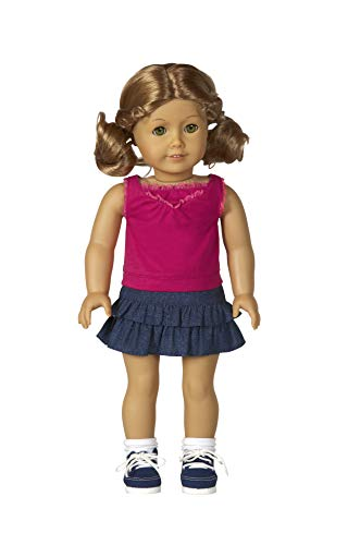"Diana Collection Magenta Sleeveless Top with Ruffled Denim Skirt. Complete Outfit with Shoes! Fits 18"" Dolls like American Girl"
