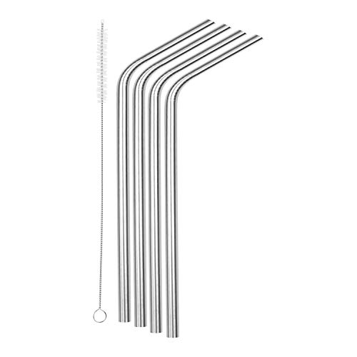 SipWell 8.5 9.5mm Bent Wide Stainless Steel Drinking Straws, 4-Pack - Dishwasher Safe & Durable Food Grade Metal Straws  Perfect for Smoothies & Cold Beverages