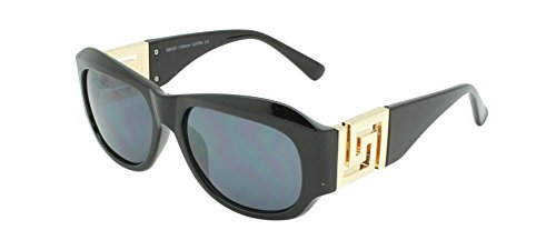 Georgio Caponi Greek Key Classic Oval Sunglasses (Black & Gold Frame, Black Super - Biggie Sunglasses