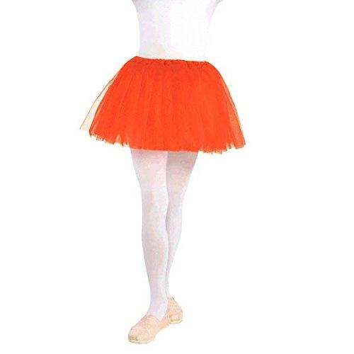 Tutú con cintura elástica niños Ballet princesa fiesta de disfraces, Naranja, tela, niño–tamaño 10.