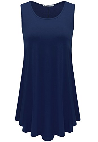 JollieLovin Womens Sleeveless Comfy Plus Size Tunic Tank Top with Flare Hem - Navy Blue, XL (1X)