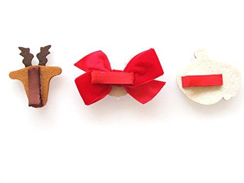 Panda's House Kid's Deer and Santa Hair Clip Set(3pk)