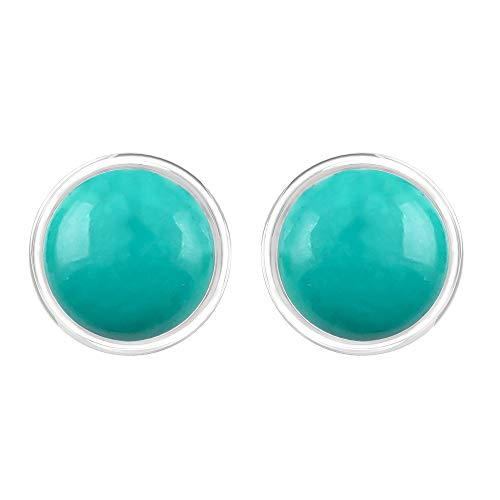 (TISHAVI Natural Turquoise 7mm Rounds Sterling Silver Handmade Stud Earrings)