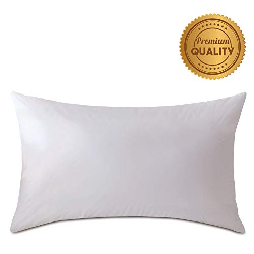 Plankroad Home Décor 15X18 Luxury Hypoallergenic 50/50 Fluffy Feather Poly Mix Rectangular Pillow Insert, 100% Cambric Cotton Shell, Never Vacuum-Packed, Odorless, Made in ()
