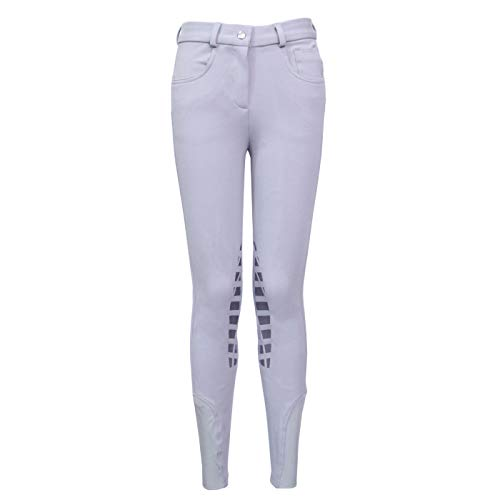 HR Farm Horse Riding Women's Knee Patched Silicone Grip Breeches (Fog Silver, 28)