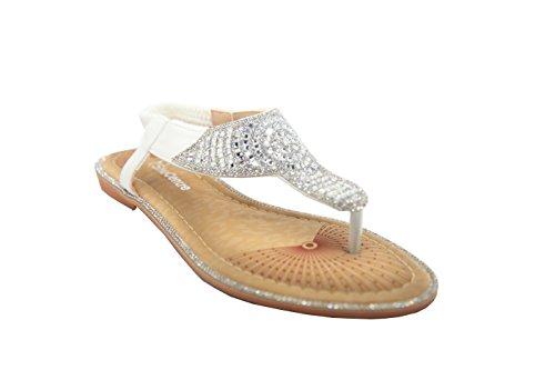 para plateado diamantes Elasicated de mujer Diamante con flop con detalle de Camel Pu flip color Sandalias de H41vqqO