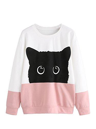 Cat Sweatshirt (ROMWE Women's Long Sleeve Pullover Top Cute Cartoon Cat Print Color Block Pullover Sweatshirt White Pink S)