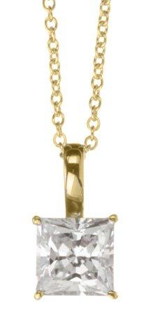 Crislu Pendant - Crislu Solitaire Pendant, Gold Plated (1.30 cttw)