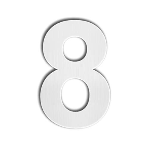 QT Modern House Number - SUPER LARGE 12 Inch - Brushed Stainless Steel (Number 8 Eight), Floating Appearance, Easy to install and made of solid 304