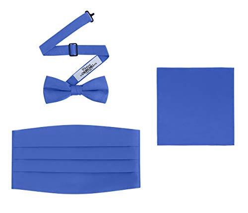 Men's 3 Piece Formal Accessory Set with Bow Tie, Cummerbund & Pocket Hanky(Royal Blue)