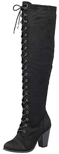 (Forever Womens Chunky Heel Lace Up Over The Knee High Riding Boots, TPS Camila-48 Black Size)