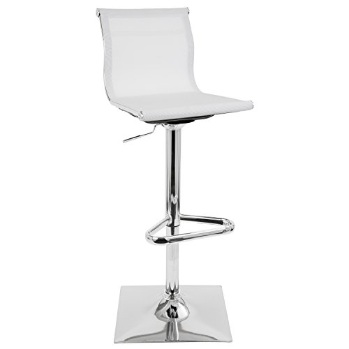 WOYBR BS-TW W Mesh Fabric, Chrome Mirage Barstool Bamboo Square Bar Stools