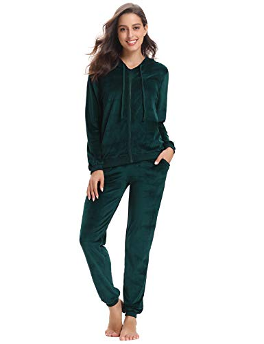 Abollria Women's Long Sleeve Solid Velour Sweatsuit Set Hoodie and Pants Sport Suits Tracksuits Dark Green