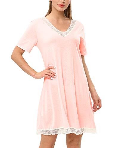 KENANCY Women's Short Sleeve Nightgown Cotton Sleep Shirt Printed Scoopneck Sleep Tee Nightshirt (Nightgown Knee Length Short Sleeve)