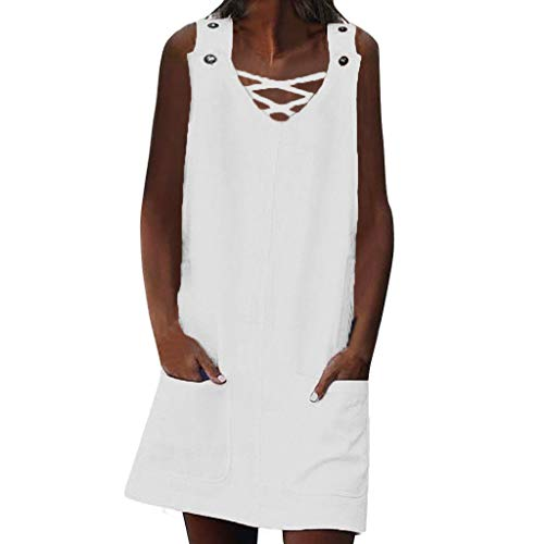 - Womens Summer Button Crew Neck Sleeveless Casual Mini Dress with Pocket by SSYUNO White