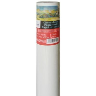 136 Pound 36 Inch x 5 Yard Roll Canson Canva Paper Roll for Craftwork Bleed-Proof Canvas Like Texture for Oil or Acrylic Paint