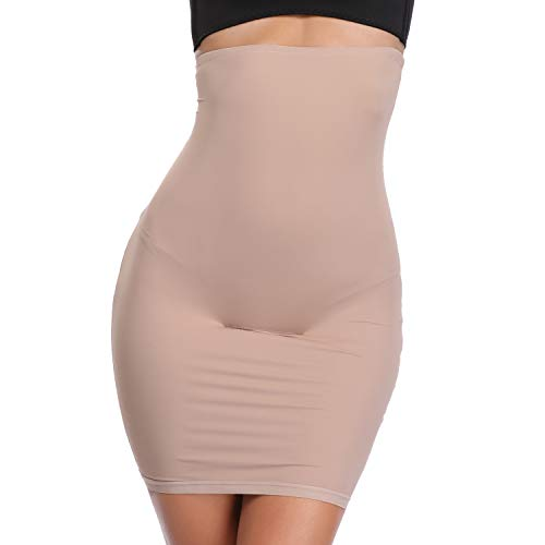 Joyshaper Half Slip for Under Dresses Women High Waist Shapewear Seamless Tummy Control Slimming Skirts (Beige, S)