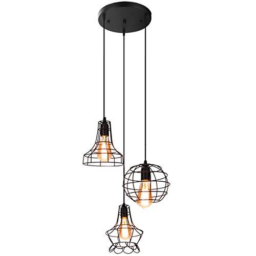 Pendant Lights with Adjustable Braided Cords Vintage Kitchen Linear Island Rustic Black Metal Chandelier Pendant Lighting Fixture Painted Finish-3 Lights