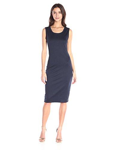 (Star Vixen Women's Sleeveless Round Neck Midi-Length Dress, Navy, Small)