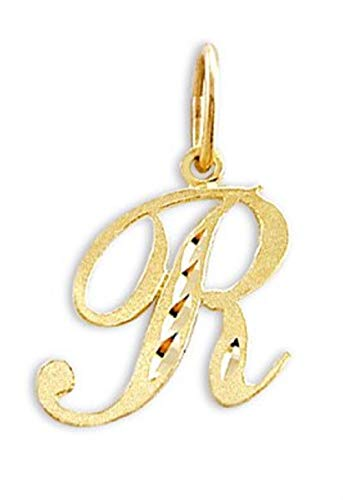 Jewel Tie Cursive R Letter 14k Yellow Gold Initial Pendant Solid