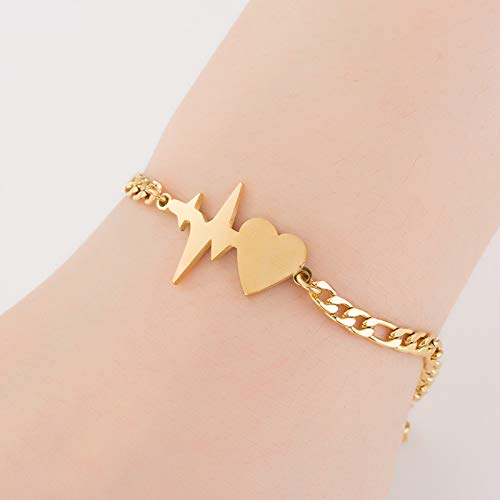 Love Heartbeat ECG Bracelet,Sweet Girl Link Bracelet for Women Girls Couple Gifts YOOE Gold Charm Cupid Arrow Bracelet