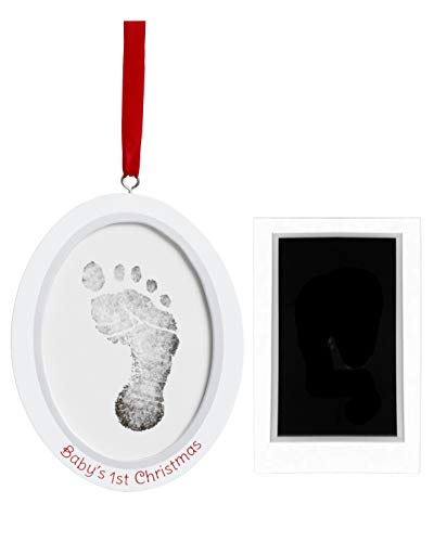 Pearhead Babyprints Newborn Baby Handprint or Footprint Double-Sided Photo Ornament with Clean Touch Ink Pad - Makes A Perfect Holiday Gift for Baby's First Christmas